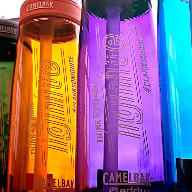 Camelbak water bottles with the Clarkson ignite logo