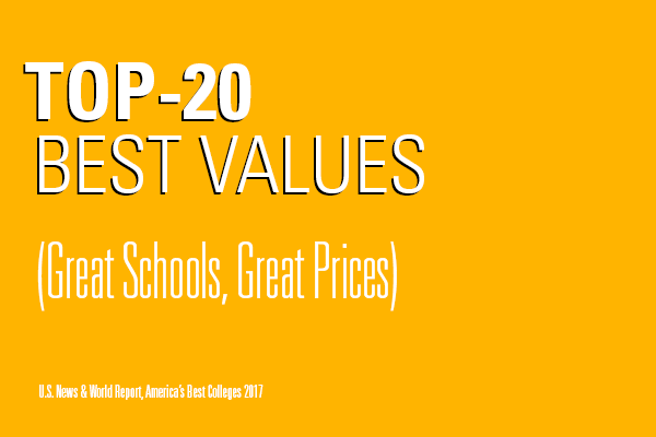 Top-20 Best Values (Great Schools, Great Prices), U.S. News & World Report, America's Best Colleges 2017