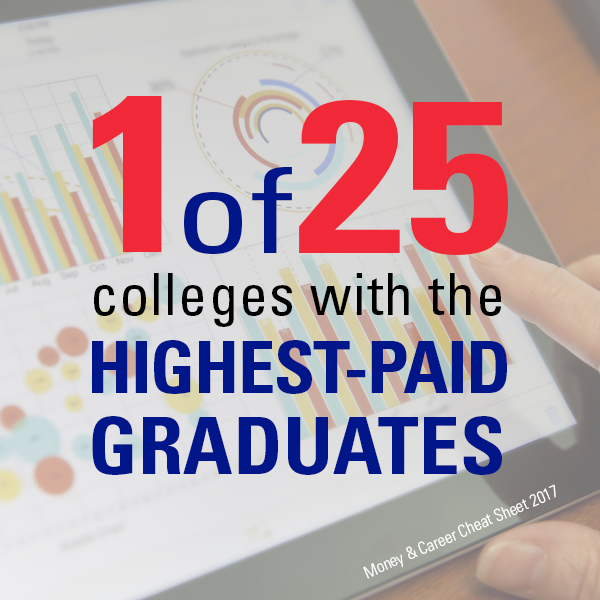 1 of 25 colleges with the Highest-Paid Graduates, Money & Career Cheat Sheet 2017
