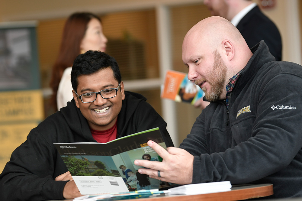Staff and students interact on the CRC campus in Schenectady, NY, Wednesday, May 1, 2019.