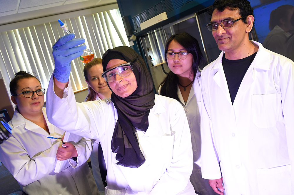 A group of students perform research in a lab