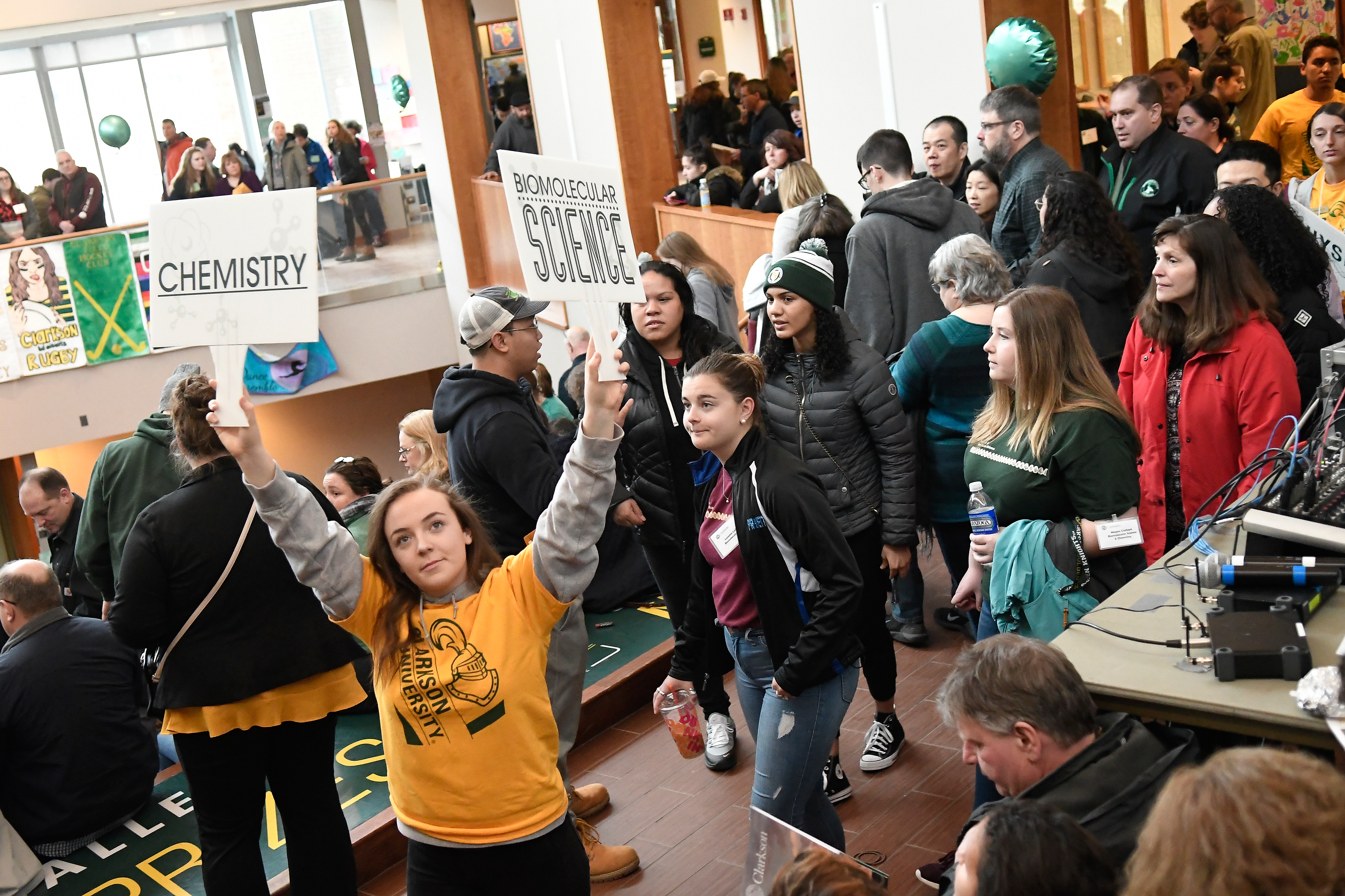 Clarkson University hosts several undergraduate admissions events throughout the year, including Accepted Students Day, of which a crowd from this event is shown.