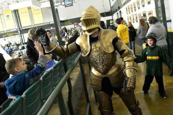 Golden Knight at Hockey Game