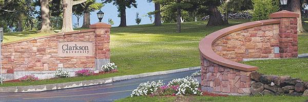 Clarkson Main Entrance Stone Gateway to Hill Campus in Potsdam, New York