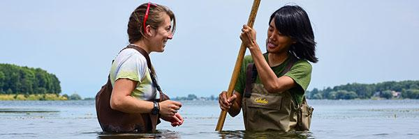 Clarkson students conduct research in the waters of the St. Lawrence River on the border of New York State and Canada.