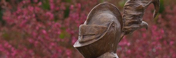 The Clarkson University Golden Knight statue sits outside Cheel Campus Center at our campus in Potsdam, New York.
