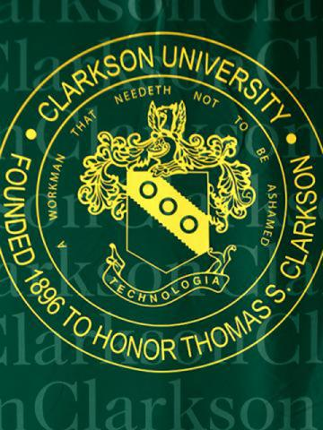 Clarkson seal on a green backdrop