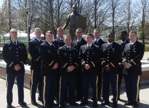 the army rotc golden knight battalion at clarkson university recently commissioned cadets into the us army