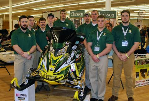 From left to right: Eric Gleich, Nick Gilbert, Jeff Robinson, Brett Swan, Brett Golas, Dylan Kloster, Josh Petrus, Austin Donhauser and Keenan Lynch participated in the SAE Clean Snowmobile Challenge in March. Clarkson University's team won second place overall in the annual competition.