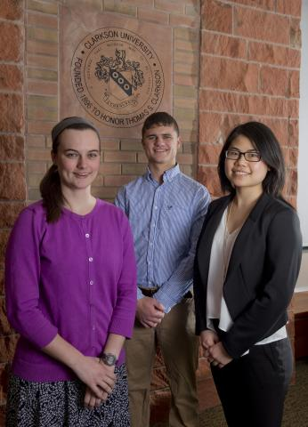 Two more Clarkson University honors students have been awarded a prestigious Goldwater Scholarship and one has received an honorable mention. Left to right: Kaitlin Dunn (Goldwater Scholar), Louis DeRidder (honorable mention), and Xulan Deng (Goldwater Scholar).