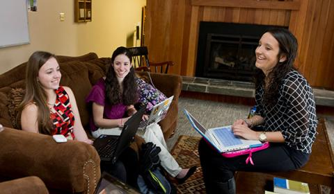 Honors students studying together