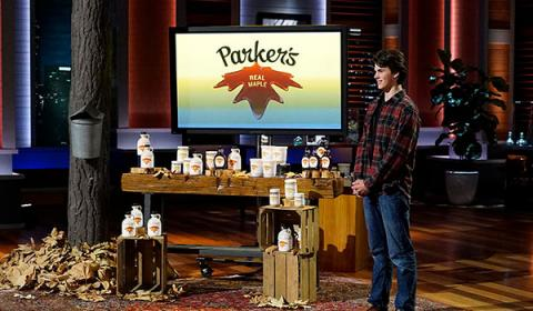 Josh Parker on the set of Shark Tank