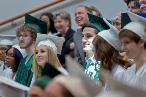 Students in The Clarkson School, Clarkson University's early college program, at their 2016 Commencement.
