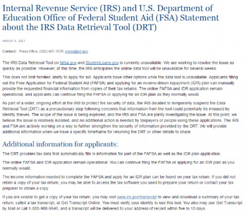 IRS Financial Aid Information