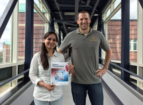 From left to right, Clarkson University research assistant Darpandeep Aulakh of Amritsar, India, who was the lead author of the paper, and Assistant Professor of Chemistry & Biomolecular Science Mario Wriedt.
