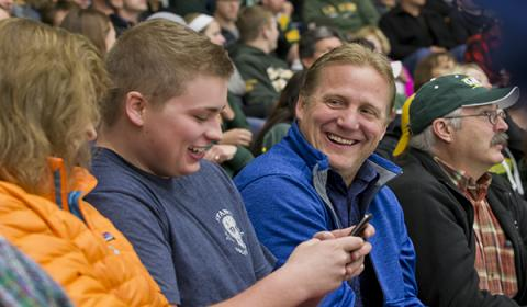 Parents and Students at Hockey Game