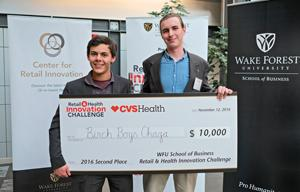 Clarkson University sophomores Garrett Kopp, of Tupper Lake, N.Y., and Thomas Burke III, of Weston, Conn., won second place at the Wake Forest University Retail & Health Innovation Challenge for their business, Birch Boys Adirondack Chaga.