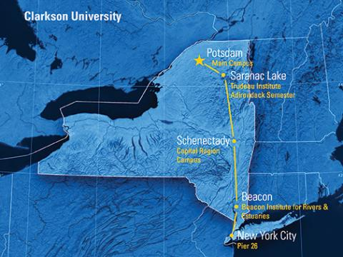 Clarkson University Campus Locations in Potsdam, Saranac Lake, Schenectady, Beacon and New York City shown on a NY State Map