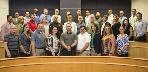 Clarkson University's Global Supply Chain Management (GSCM) program presented its 17th annual Global Supply Chain Management Executive Seminar. Above, the seminar class, faculty and staff.