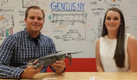 Jon Parry '07 and Mallory Fisher '18 with a drone at Genius NY