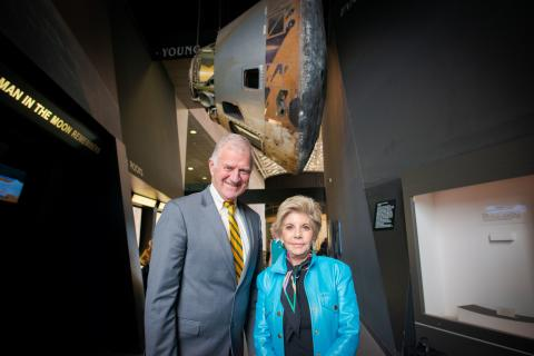 Conrad Foundation President Nancy Conrad and Clarkson President Tony Collins at the Smithsonian National Air & Space Museum, pay tribute to the late Pete Conrad, NASA Astronaut on Appollo 12 and space exploration innovator, and announce in Washington DC the partnership