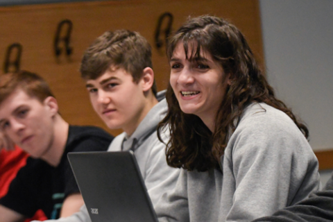 Students smiling in class