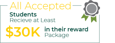 All of our accepted students receive at least $30K in their rewards package