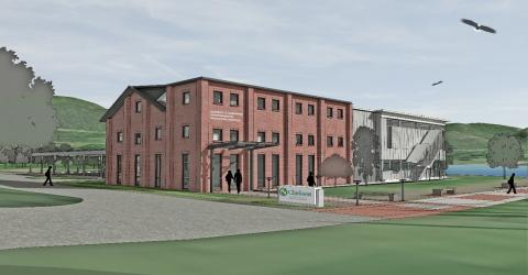 Artist's rendering of the renovations and addition to Dennings Point