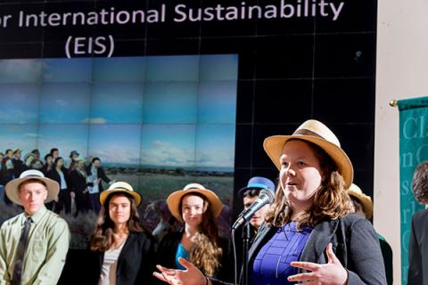 Undergraduate students Engineers for International Sustainability (EIS) present during Clarkson's Tony Tuesday