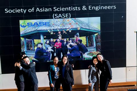 Members of Clarkson''s chapter of the Society of Asian Scientists and Engineers (SASE) give a presentation on Tony Tuesday