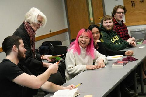 Clarkson Humanities and Social Sciences Professor Ellen Caldwell teaches a class of undergraduate history students