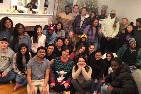 Students and staff in Clarkson's HEOP program gather together for a group photo during the holidays.