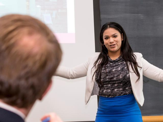 A student giving a business presentation