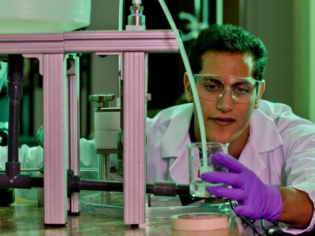 Chemical engineering student conducting research