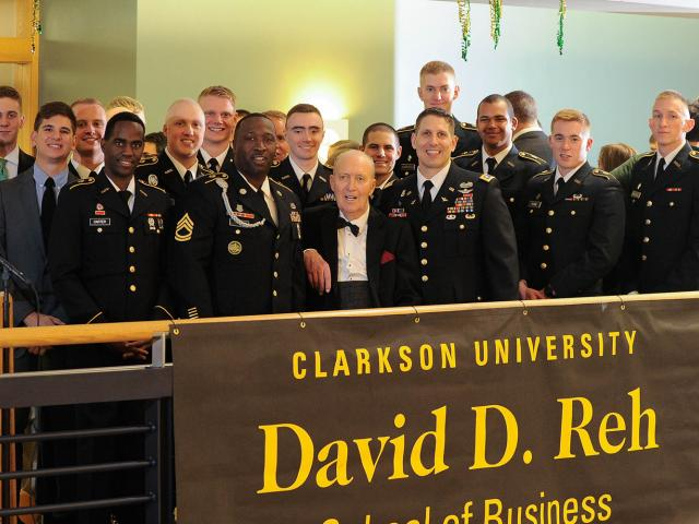 Students with David D. Reh at the David D. Reh School of Business dedication