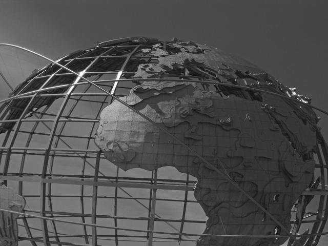 Globe in black and white representing supply chain management