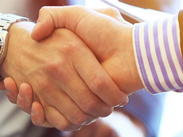Two individuals at a business meeting shaking hands
