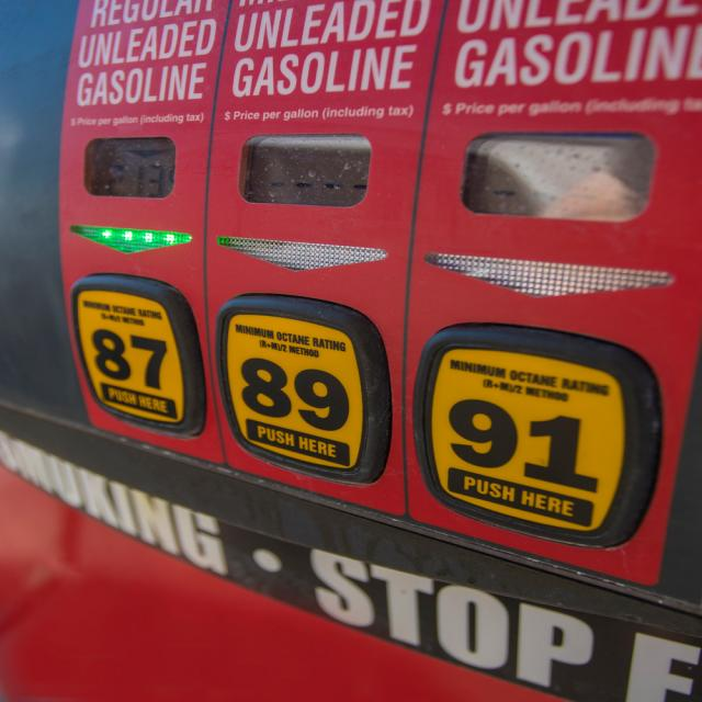 Gasoline pump showing prices